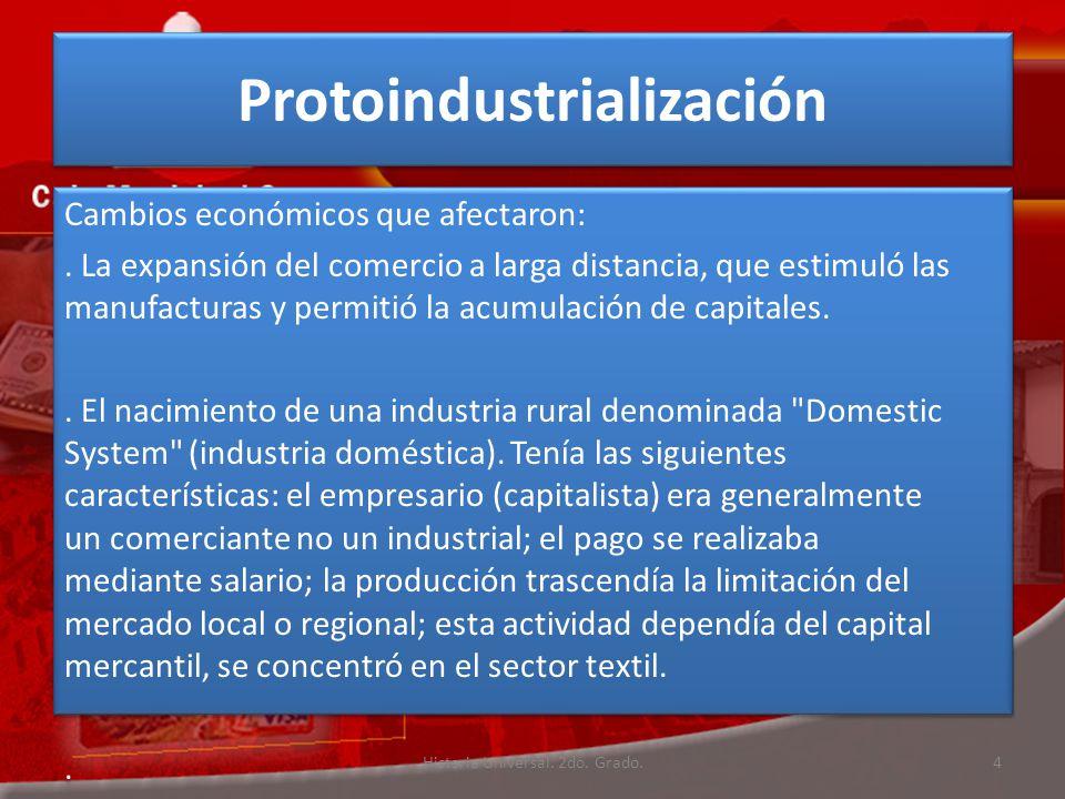 Protoindustrialización Cambios económicos que afectaron:.