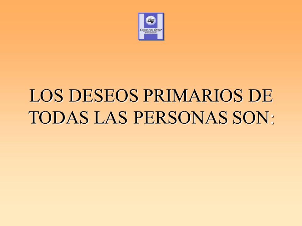 LOS DESEOS PRIMARIOS DE TODAS LAS PERSONAS SON:
