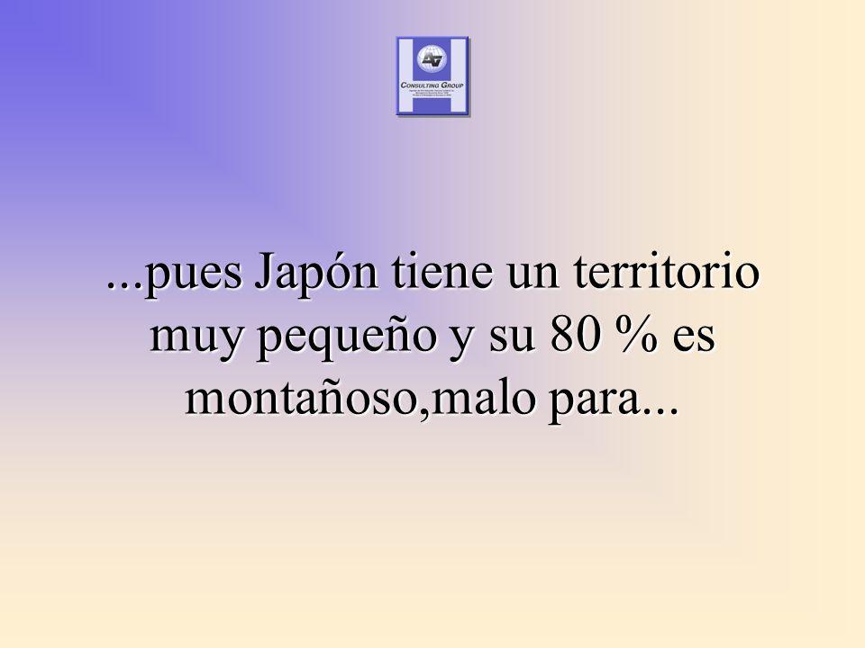 ...pues Japón tiene un territorio muy pequeño y su 80 % es montañoso,malo para...