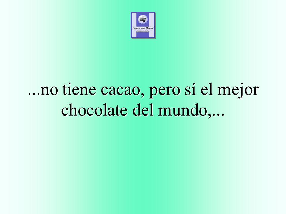 ...no tiene cacao, pero sí el mejor chocolate del mundo,...