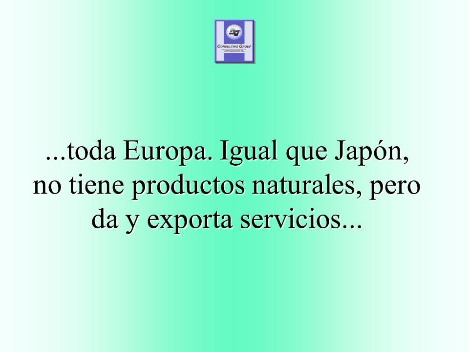 ...toda Europa. Igual que Japón, no tiene productos naturales, pero da y exporta servicios...