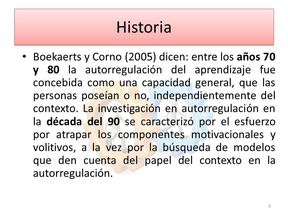 Historia Boekaerts y Corno (2005) dicen: entre los años 70 y 80 la autorregulación del aprendizaje fue concebida como una capacidad general, que las personas poseían o no, independientemente del contexto.