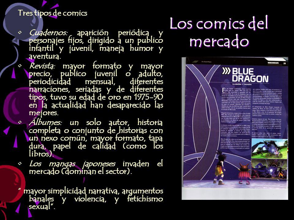 Los comics del mercado Tres tipos de comics Cuadernos: aparición periódica y personajes fijos, dirigido a un publico infantil y juvenil, maneja humor y aventura.
