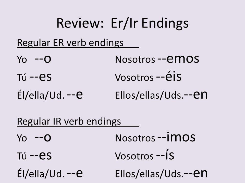 Stem-Changing Verbs Verb flower Regular IR endings: --o --es --e --imos --ís --en IR VIV-- Ending STEM