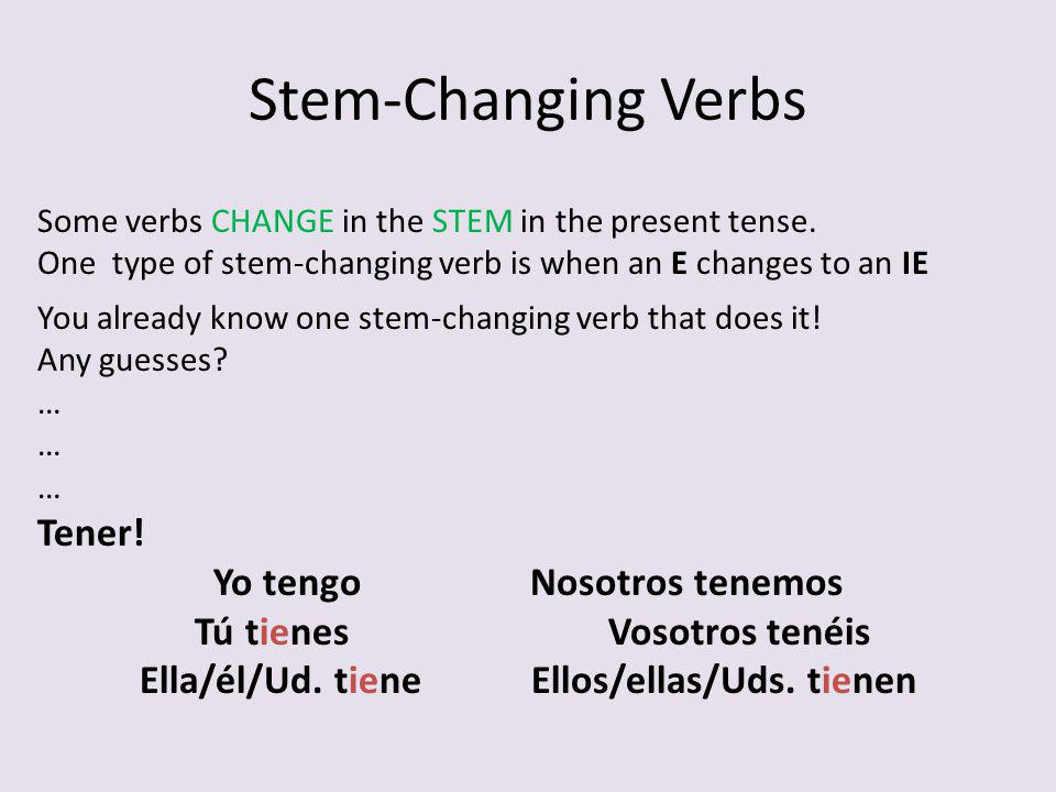 Stem-Changing Verbs *Youll know its a stem-changer when the infinitive is followed by vowels in parentheses Querer (ie) *These are the vowels the stem will change to (usually the last vowel before the ar/er/ir ending).
