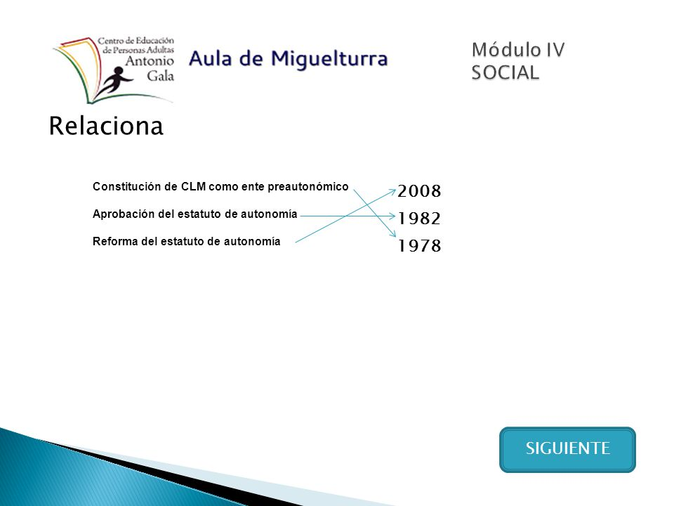 Relaciona SIGUIENTE Constitución de CLM como ente preautonómico 2008 Aprobación del estatuto de autonomía 1982 Reforma del estatuto de autonomía 1978