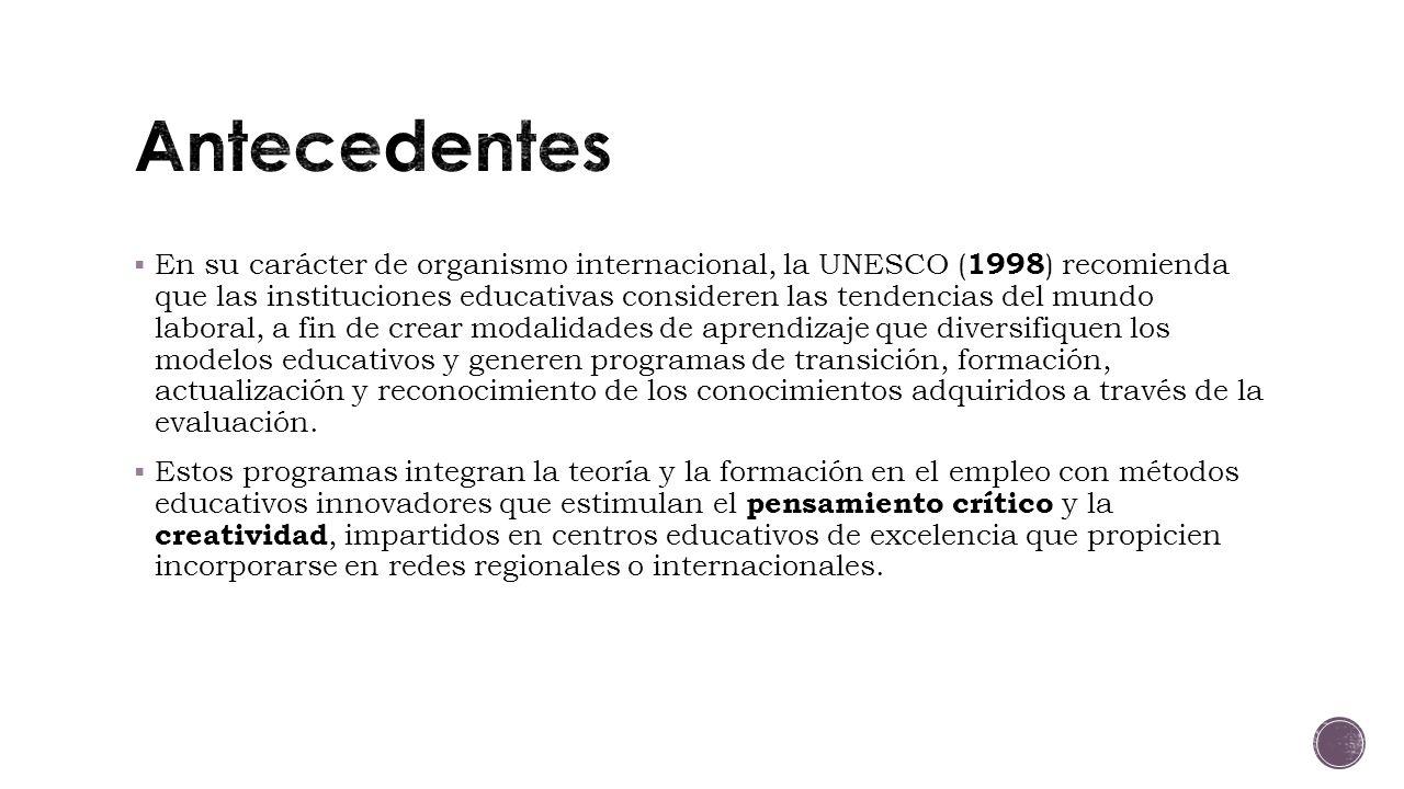 En su carácter de organismo internacional, la UNESCO ( 1998 ) recomienda que las instituciones educativas consideren las tendencias del mundo laboral, a fin de crear modalidades de aprendizaje que diversifiquen los modelos educativos y generen programas de transición, formación, actualización y reconocimiento de los conocimientos adquiridos a través de la evaluación.