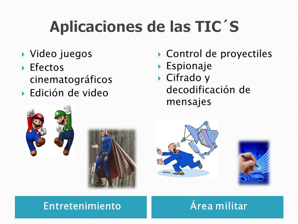 EntretenimientoÁrea militar Video juegos Efectos cinematográficos Edición de video Control de proyectiles Espionaje Cifrado y decodificación de mensaj