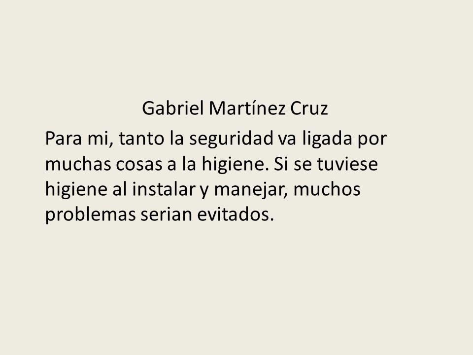 Gabriel Martínez Cruz Para mi, tanto la seguridad va ligada por muchas cosas a la higiene.