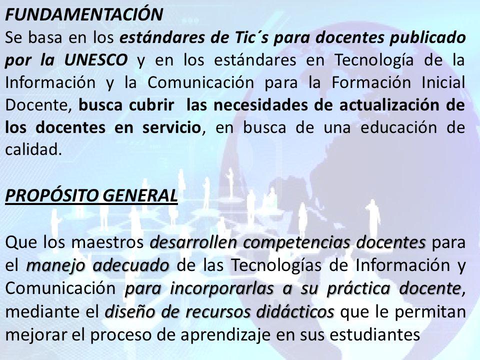 FUNDAMENTACIÓN Se basa en los estándares de Tic´s para docentes publicado por la UNESCO y en los estándares en Tecnología de la Información y la Comunicación para la Formación Inicial Docente, busca cubrir las necesidades de actualización de los docentes en servicio, en busca de una educación de calidad.