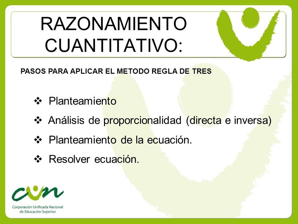 RAZONAMIENTO CUANTITATIVO: PASOS PARA APLICAR EL METODO REGLA DE TRES Planteamiento Análisis de proporcionalidad (directa e inversa) Planteamiento de