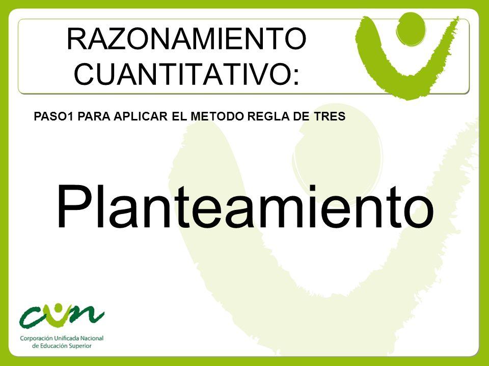RAZONAMIENTO CUANTITATIVO: PASO1 PARA APLICAR EL METODO REGLA DE TRES Planteamiento