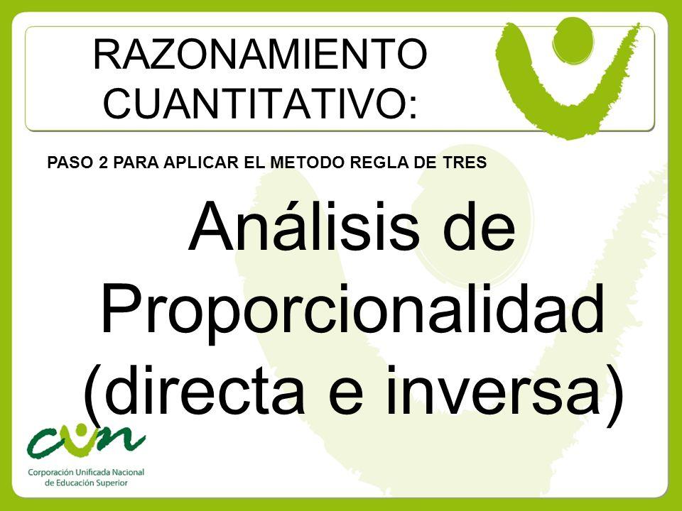 RAZONAMIENTO CUANTITATIVO: PASO 2 PARA APLICAR EL METODO REGLA DE TRES Análisis de Proporcionalidad (directa e inversa)