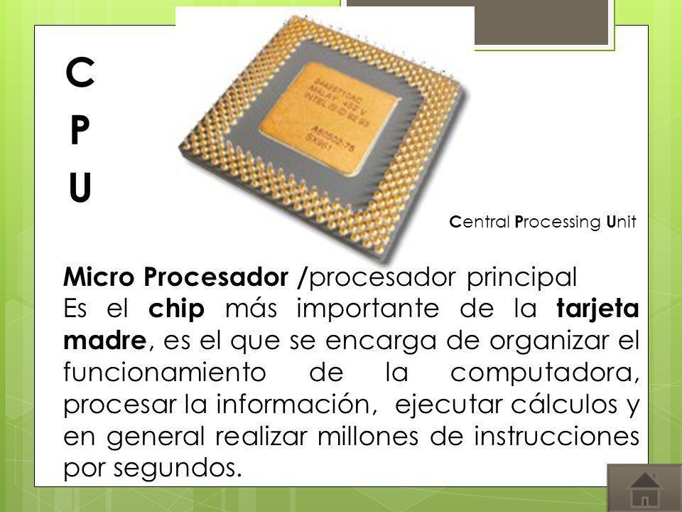 Micro Procesador / procesador principal Es el chip más importante de la tarjeta madre, es el que se encarga de organizar el funcionamiento de la compu