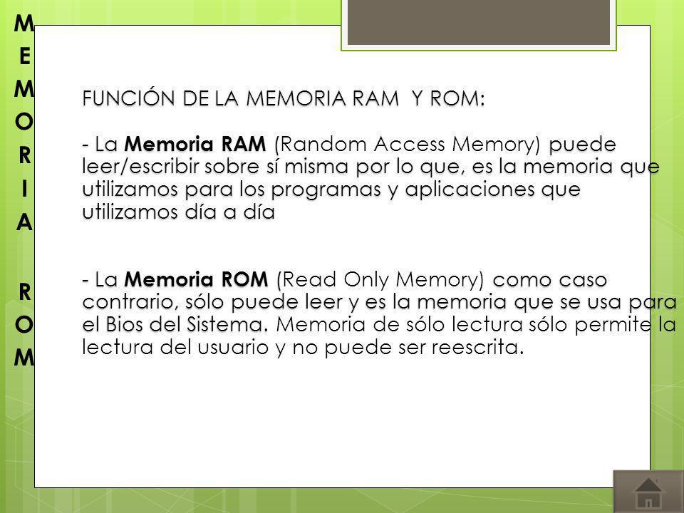 FUNCIÓN DE LA MEMORIA RAM Y ROM: - La Memoria RAM (puede leer/escribir sobre sí misma por lo que, es la memoria que utilizamos para los programas y ap