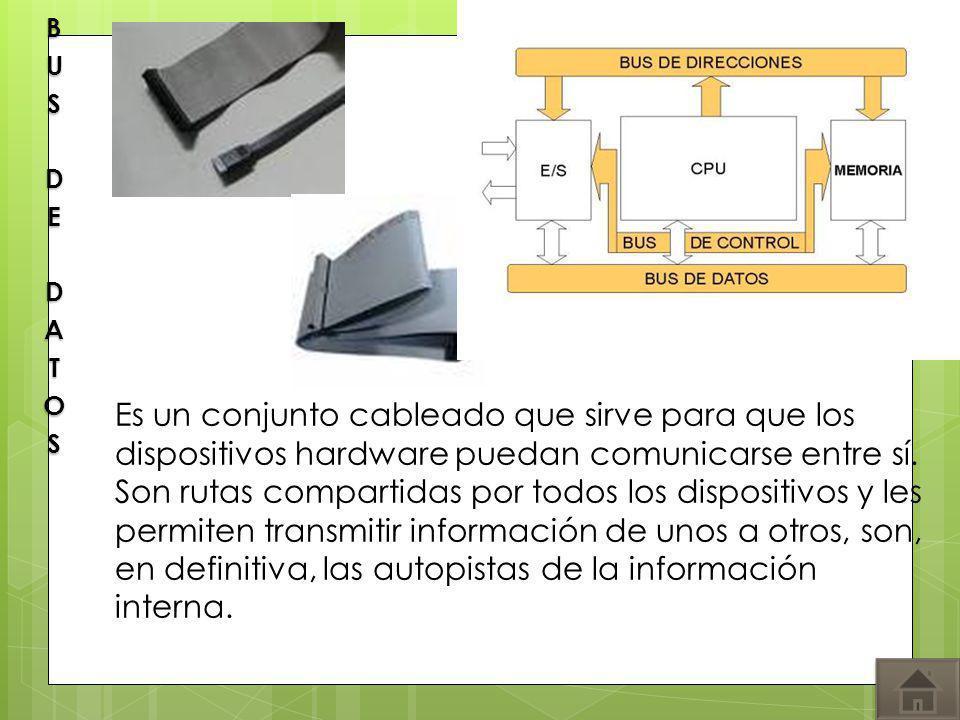 Es un conjunto cableado que sirve para que los dispositivos hardware puedan comunicarse entre sí. Son rutas compartidas por todos los dispositivos y l