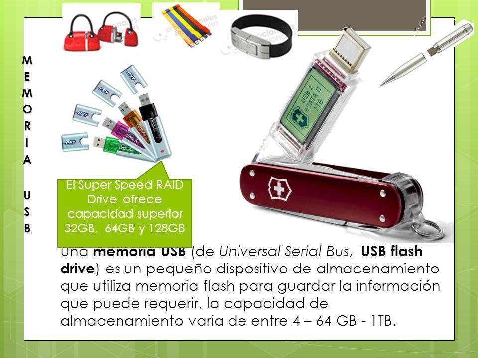 Una memoria USB (de Universal Serial Bus, USB flash drive ) es un pequeño dispositivo de almacenamiento que utiliza memoria flash para guardar la info