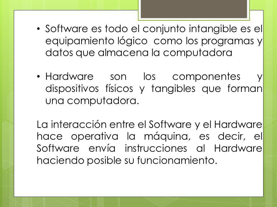 Software es todo el conjunto intangible es el equipamiento lógico como los programas y datos que almacena la computadora Hardware son los componentes