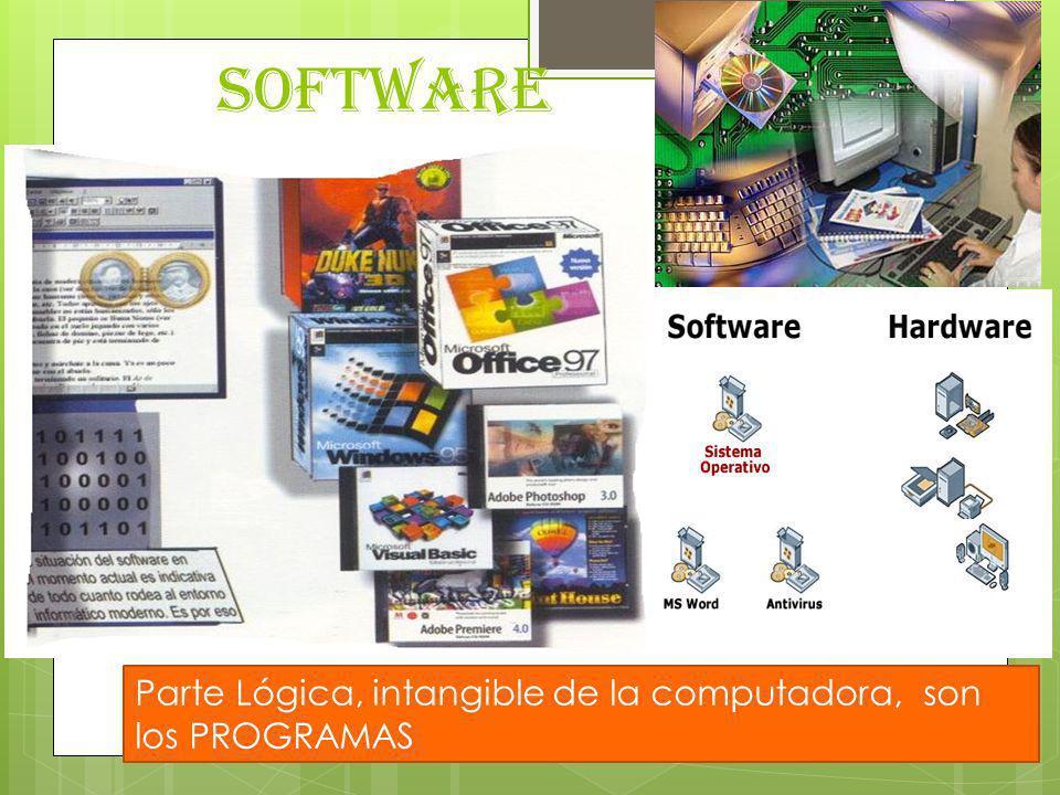 TIPOSCLASIFICACIÓNEJEMPLOS Software de sistema Tarea únicaMS-DOS, DR-DOS, PC-DOS, CP/M (Control Program/Monitor), MultitareaUNIX, WINDOWS, OS/2, LINUX, MAC OS Software de aplicación Procesador de textos AppleWorks - Mac, Applix Word - Linux, Mind, Atlantis Word Processor:, EasyWord, Han/Gul, Lotus Word Pro, Mellel, Microsoft Word - Windows y Mac, Nisus Writer - Mac, Pages - Mac, PolyEdit, StarOffice Writer, TextMaker, WordPerfect Hoja de cálculoLotus 123, Excel, Calc (Open y Star Office), Numbers (Mac) Base de datosAcces, Base (Open Office), Oracle, SQL (Lenguaje de Consulta Estructurado: Structured Query Language) Paquetes Integrados OFFICE, WORKS, COREL/WORD PERFECT OFFICE, OPEN OFFICE, STAR OFFICE Software de red FTP, Internet Explorer, Opera, Mozilla Firefox, Software de lenguaje Lenguaje de bajo nivel (Ensamblador) Microsoft Macro Assembler (MASM), GNU Assembler, Turbo Assembler (TASM) Lenguaje de alto nivel Fortran, Algol, Prolog, Basic, Visual Basic, C++, Visual C, Java, Intérpretes Compiladores Virus y otros programas nocivos Virus informático Creeper (1972, Natas), CIH, Melissa, Sobig.F, Bagle, Code Red, MyDoom, SQL Slammer, Passer Caballos de Troya Picture.exe y show.exe, Svchost32.exe, Svhost.exe, back.exe Bombas lógicas Sasser, Viernes 13 Gusanos Morris, ILOVEYOU, Blaster, Sobig Worm, Nimda