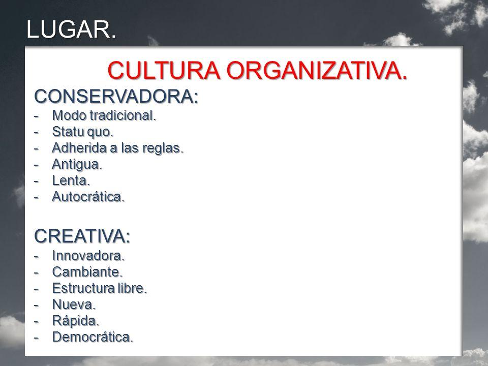 LUGAR. CULTURA ORGANIZATIVA. CONSERVADORA: -Modo tradicional.