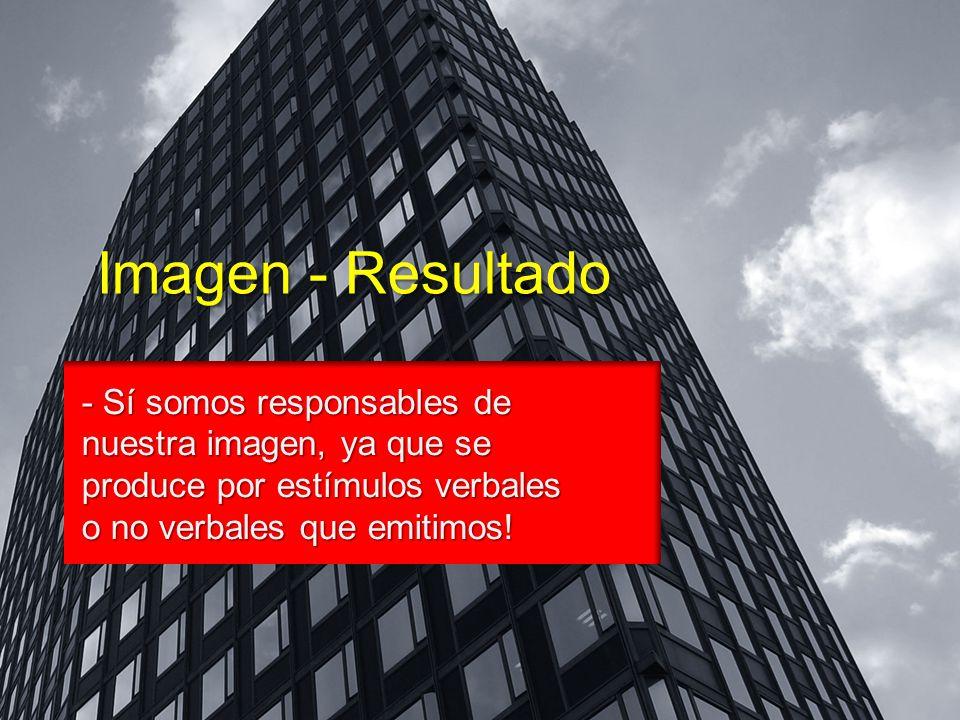 Imagen - Resultado - Sí somos responsables de nuestra imagen, ya que se produce por estímulos verbales o no verbales que emitimos!