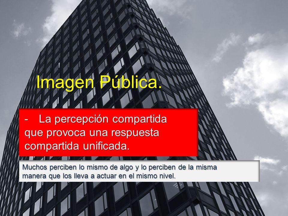 Imagen Pública. -La percepción compartida que provoca una respuesta compartida unificada.