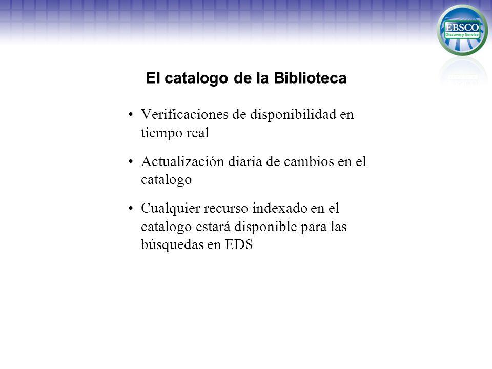 El catalogo de la Biblioteca Verificaciones de disponibilidad en tiempo real Actualización diaria de cambios en el catalogo Cualquier recurso indexado