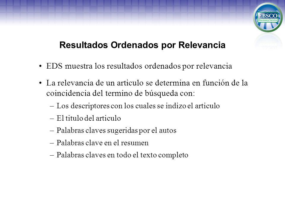 Resultados Ordenados por Relevancia EDS muestra los resultados ordenados por relevancia La relevancia de un articulo se determina en función de la coi