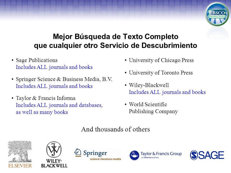 Mejor Búsqueda de Texto Completo que cualquier otro Servicio de Descubrimiento Sage Publications Includes ALL journals and books Springer Science & Business Media, B.V.