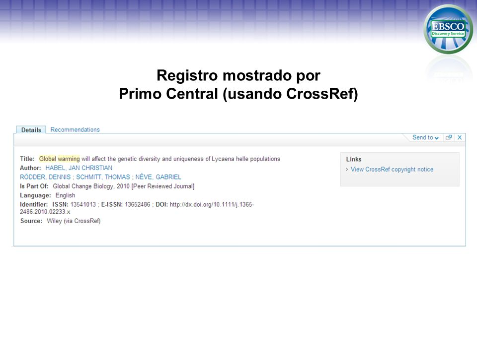 Registro mostrado por Primo Central (usando CrossRef)