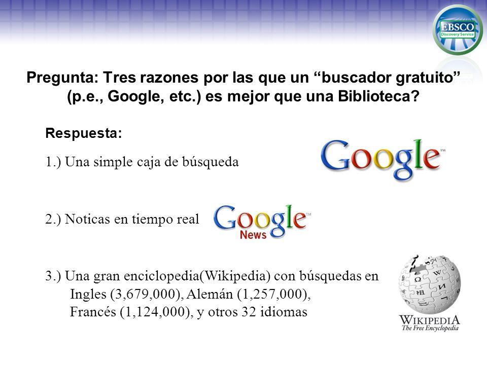 Pregunta: Tres razones por las que un buscador gratuito (p.e., Google, etc.) es mejor que una Biblioteca? Respuesta: 1.) Una simple caja de búsqueda 2