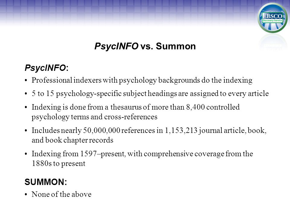PsycINFO vs.