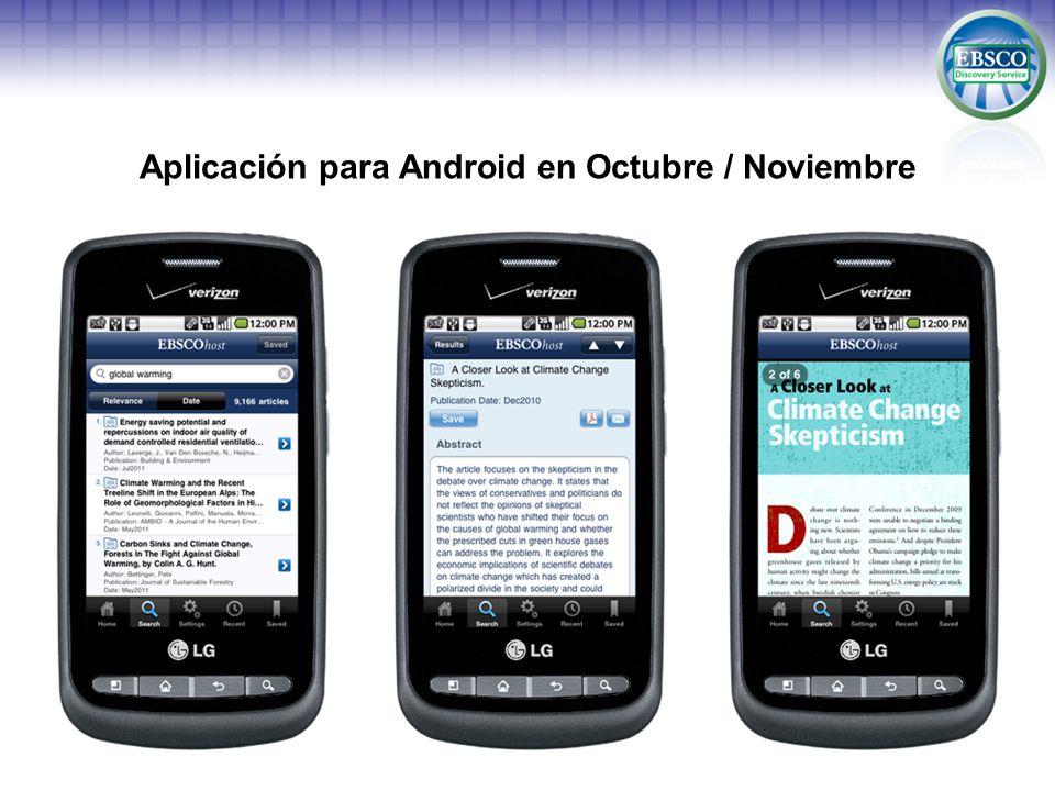 Aplicación para Android en Octubre / Noviembre
