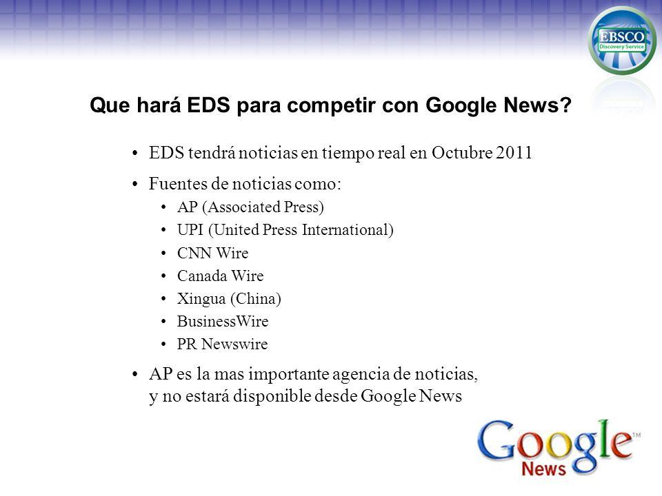 Que hará EDS para competir con Google News? EDS tendrá noticias en tiempo real en Octubre 2011 Fuentes de noticias como: AP (Associated Press) UPI (Un