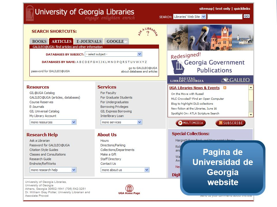 Pagina de Universidad de Georgia website