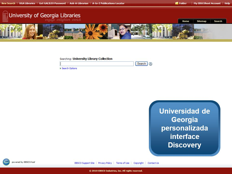 Universidad de Georgia personalizada interface Discovery