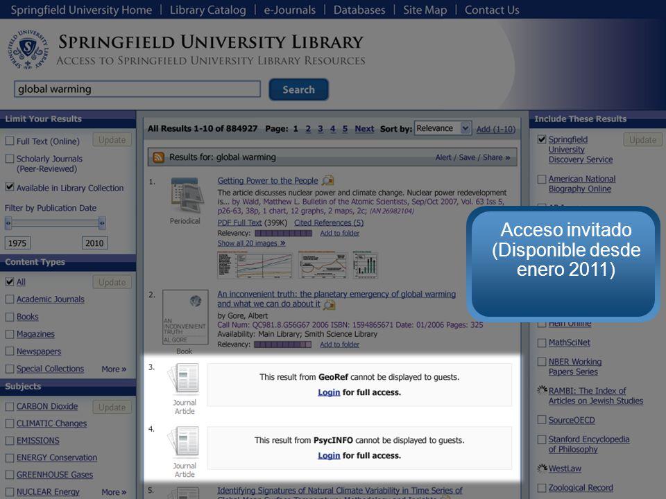 Acceso invitado (Disponible desde enero 2011)