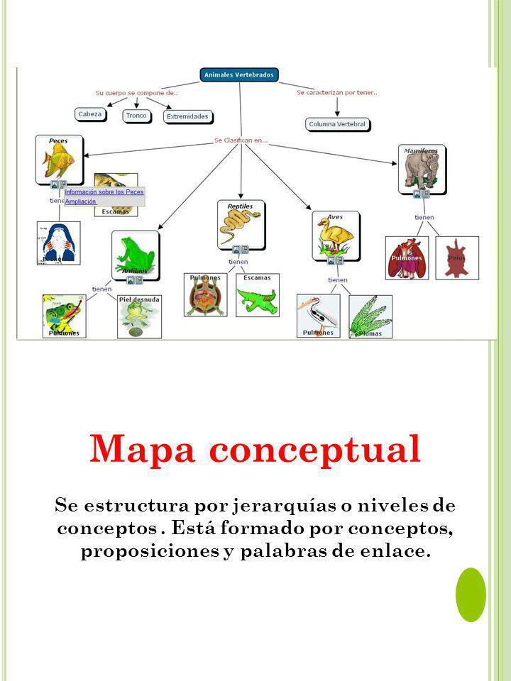 Mapa conceptual Se estructura por jerarquías o niveles de conceptos. Está formado por conceptos, proposiciones y palabras de enlace.