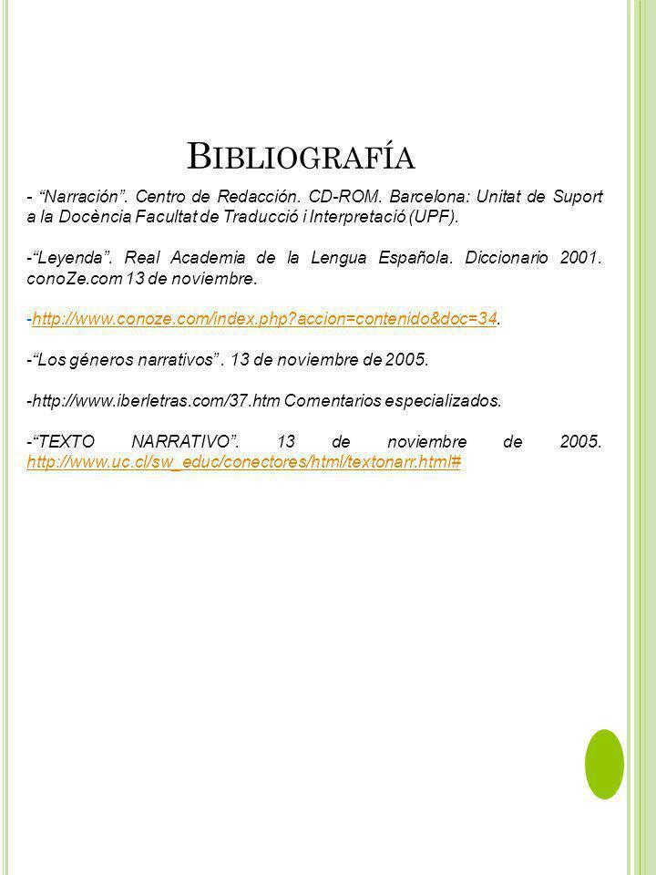 B IBLIOGRAFÍA - Narración. Centro de Redacción. CD-ROM. Barcelona: Unitat de Suport a la Docència Facultat de Traducció i Interpretació (UPF). -Leyend