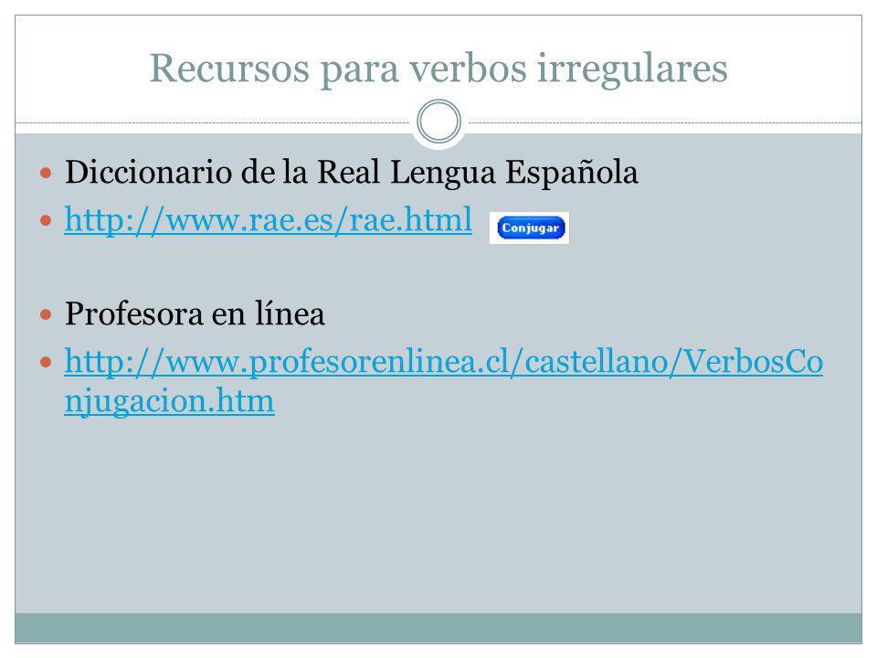 Recursos para verbos irregulares Diccionario de la Real Lengua Española http://www.rae.es/rae.html Profesora en línea http://www.profesorenlinea.cl/ca