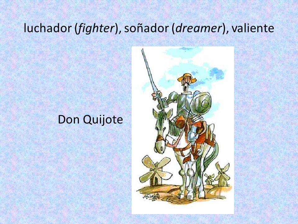 luchador (fighter), soñador (dreamer), valiente Don Quijote
