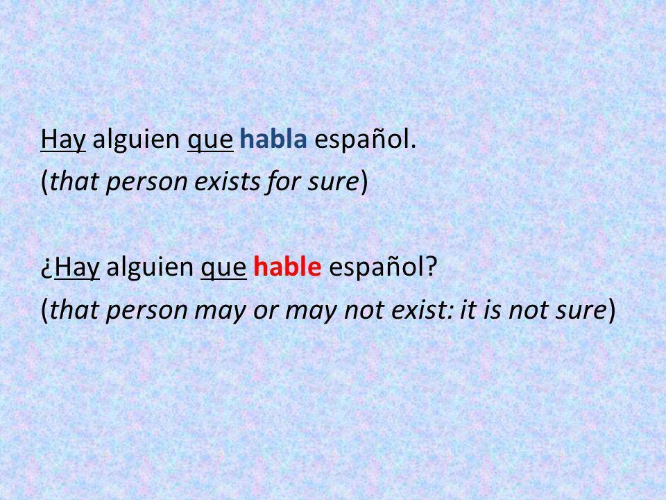 Hay alguien que habla español. (that person exists for sure) ¿Hay alguien que hable español? (that person may or may not exist: it is not sure)
