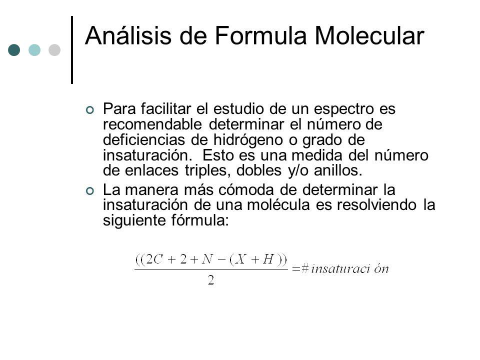 Análisis de Formula Molecular Para facilitar el estudio de un espectro es recomendable determinar el número de deficiencias de hidrógeno o grado de in