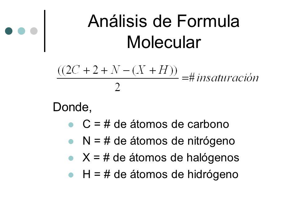 Análisis de Formula Molecular Donde, C = # de átomos de carbono N = # de átomos de nitrógeno X = # de átomos de halógenos H = # de átomos de hidrógeno