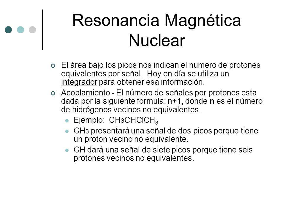 Resonancia Magnética Nuclear El área bajo los picos nos indican el número de protones equivalentes por señal. Hoy en día se utiliza un integrador para