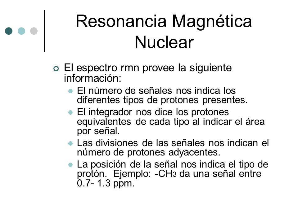 Resonancia Magnética Nuclear El espectro rmn provee la siguiente información: El número de señales nos indica los diferentes tipos de protones present