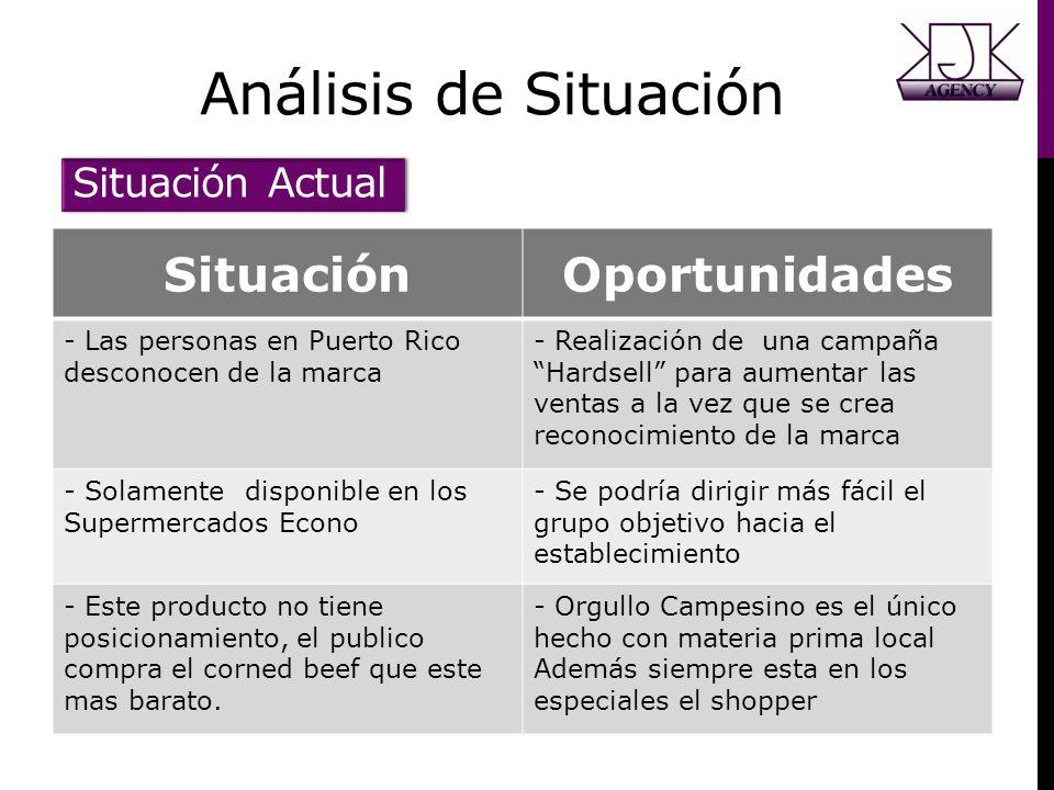 Análisis de Situación SituaciónOportunidades - Las personas en Puerto Rico desconocen de la marca - Realización de una campaña Hardsell para aumentar