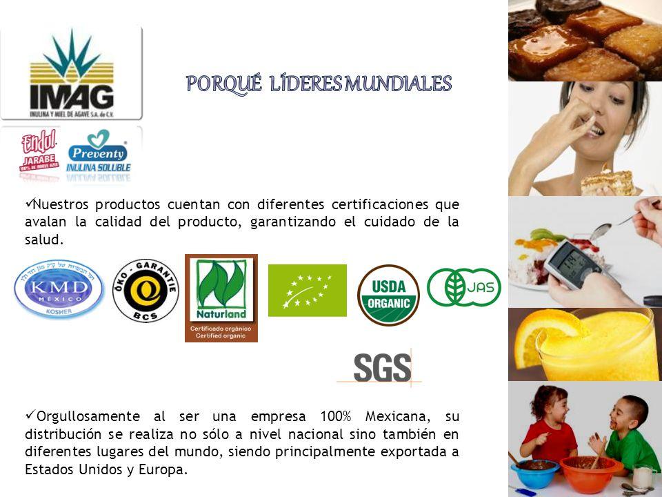 Nuestros productos cuentan con diferentes certificaciones que avalan la calidad del producto, garantizando el cuidado de la salud. Orgullosamente al s