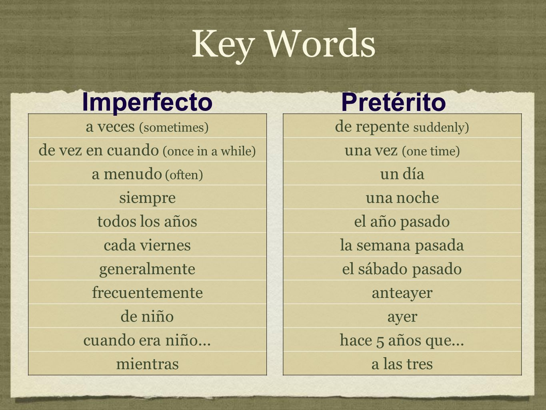 Key Words a veces (sometimes) de vez en cuando (once in a while) a menudo (often) siempre todos los años cada viernes generalmente frecuentemente de n