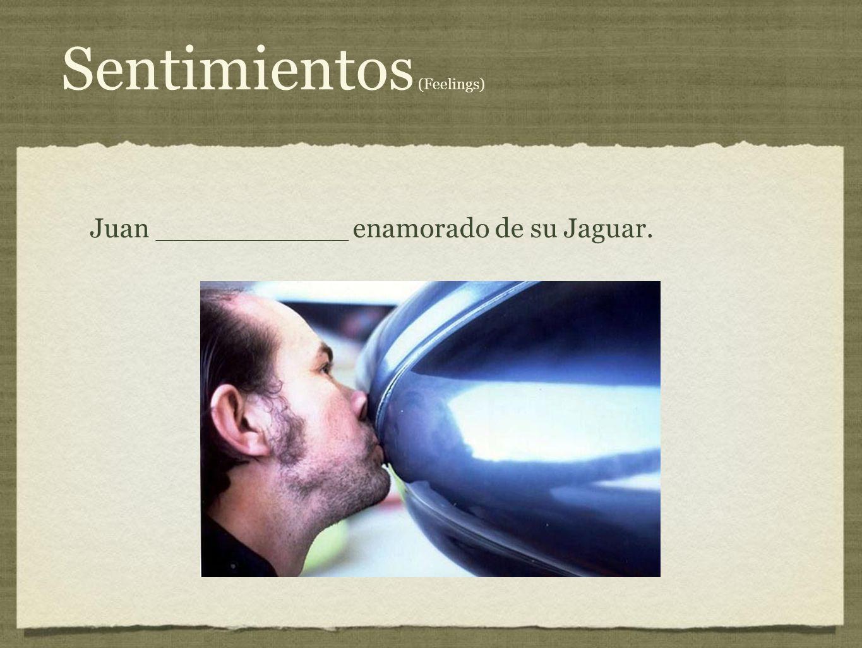 Sentimientos (Feelings) Juan ___________ enamorado de su Jaguar.